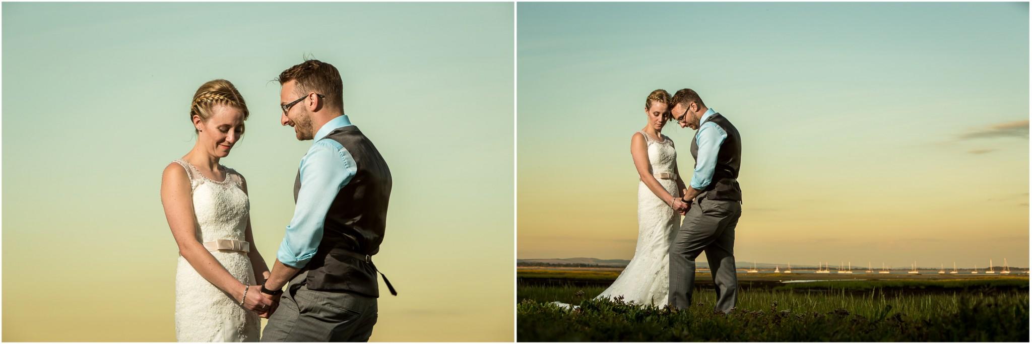 Tournerbury Woods Estate Wedding bride & Groom as sunset