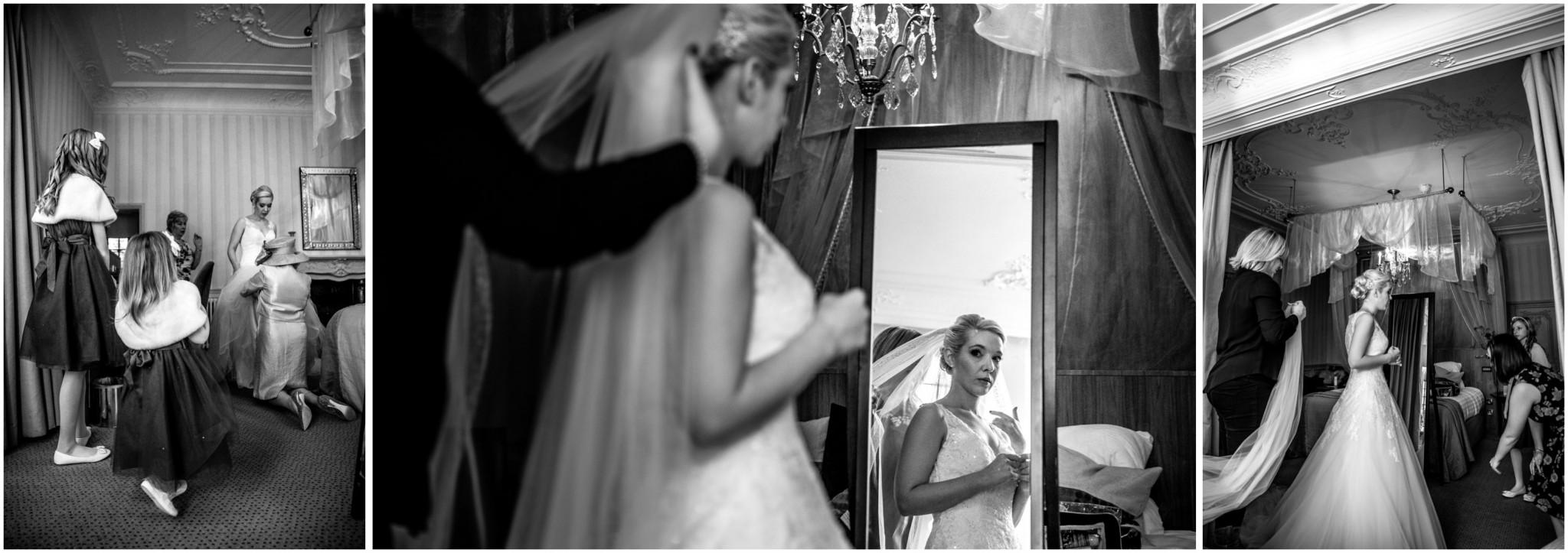 Rhinefield House Wedding Photographer Bride in mirror