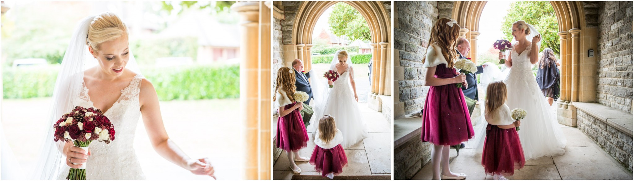 Bride arrving at St Saviours Church Brockenhurst wedding