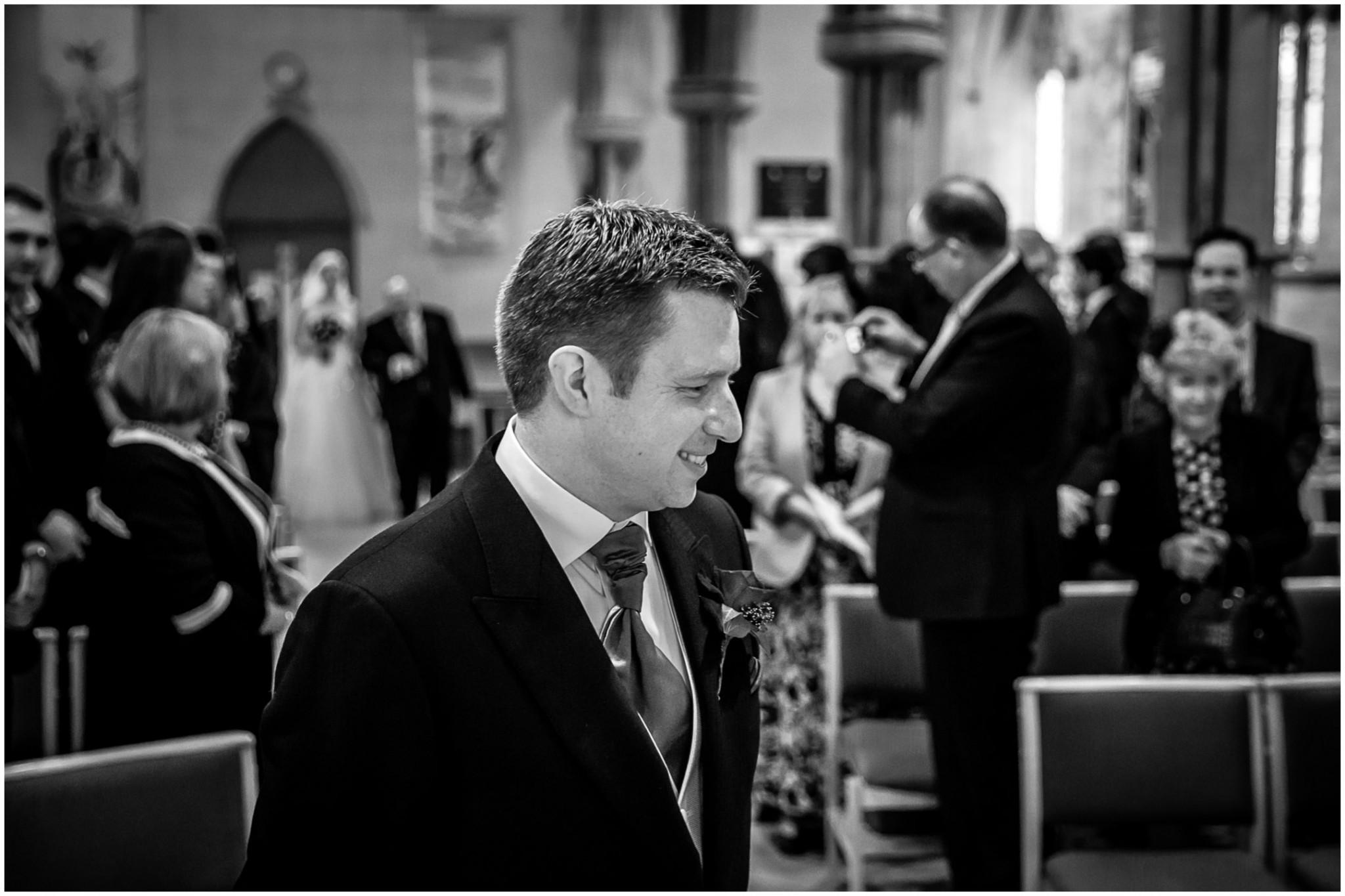 St Saviours Church Brockenhurst Bride walking down aisle