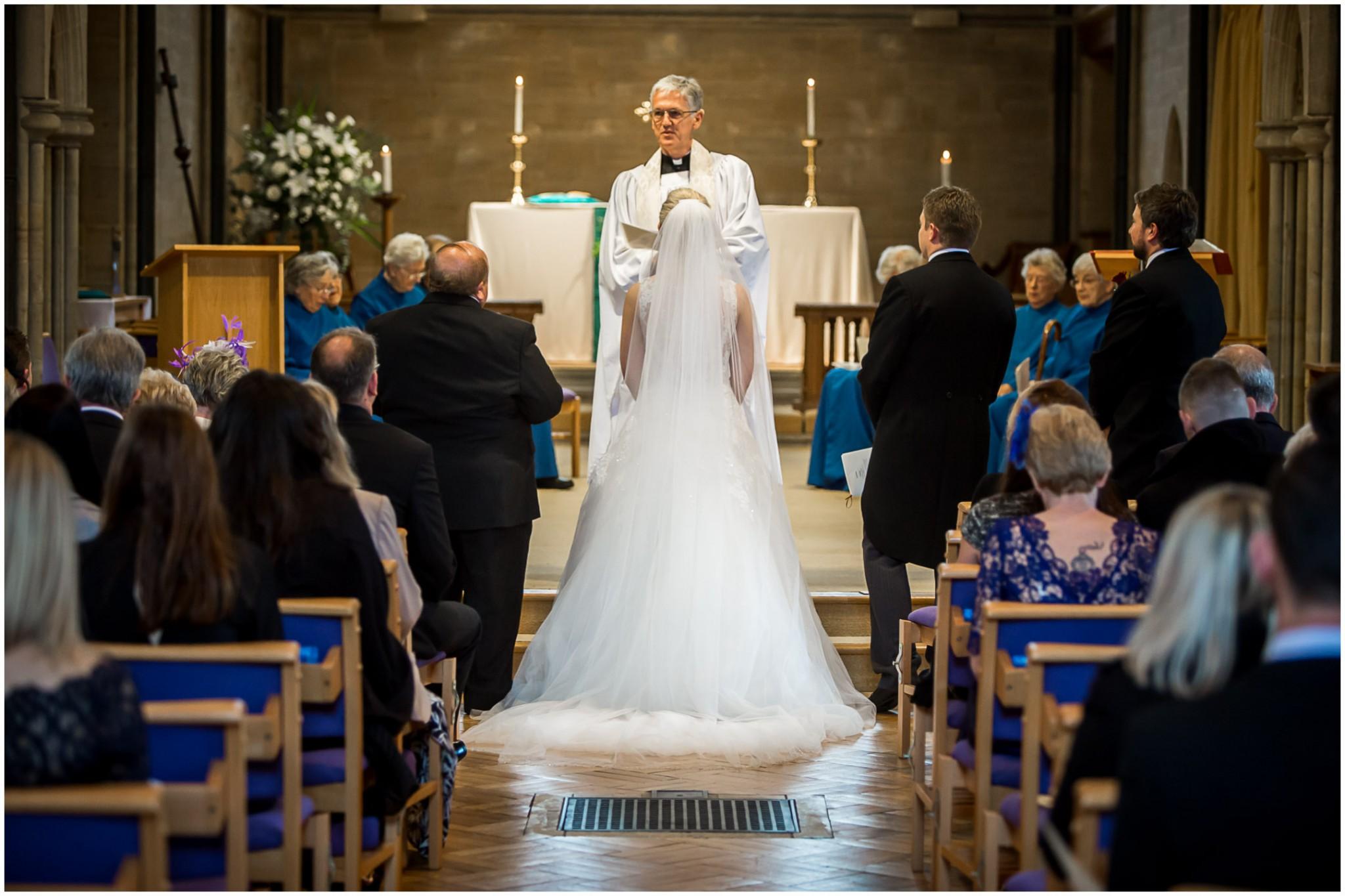 St Saviours Church Brockenhurst Wedding Bride at altar