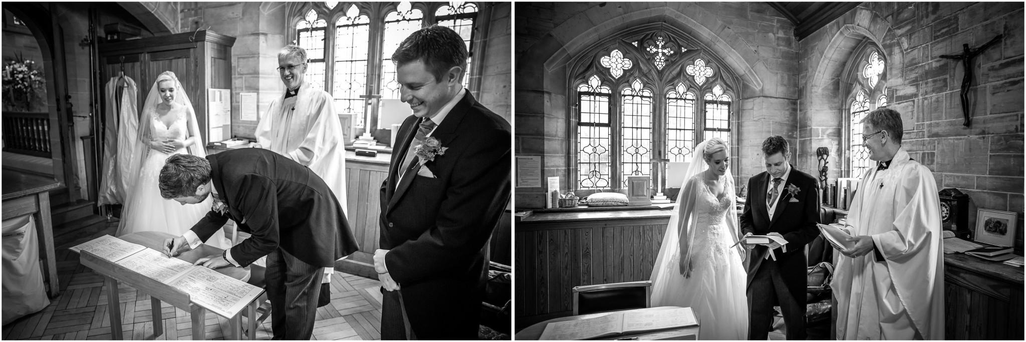 St Saviours Church Brockenhurst Bride & Groom signing the register