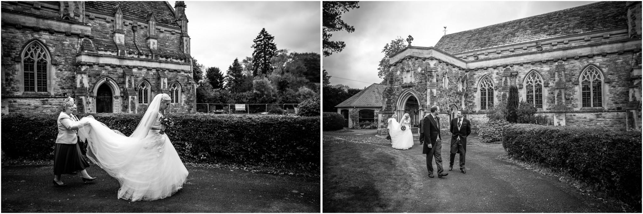 St Saviours Church Brockenhurst Bride & Groom walk from the church