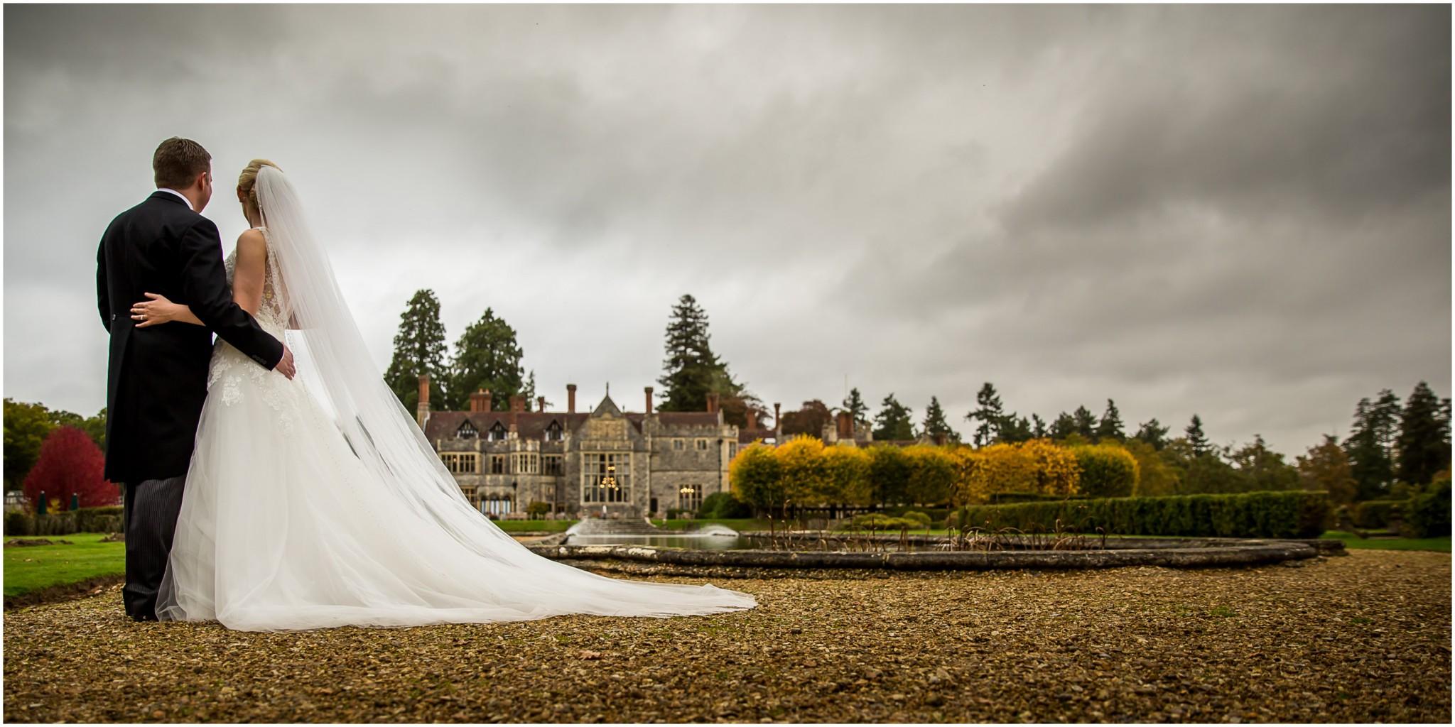 Rhinefield House Wedding Bride & Groom in garden