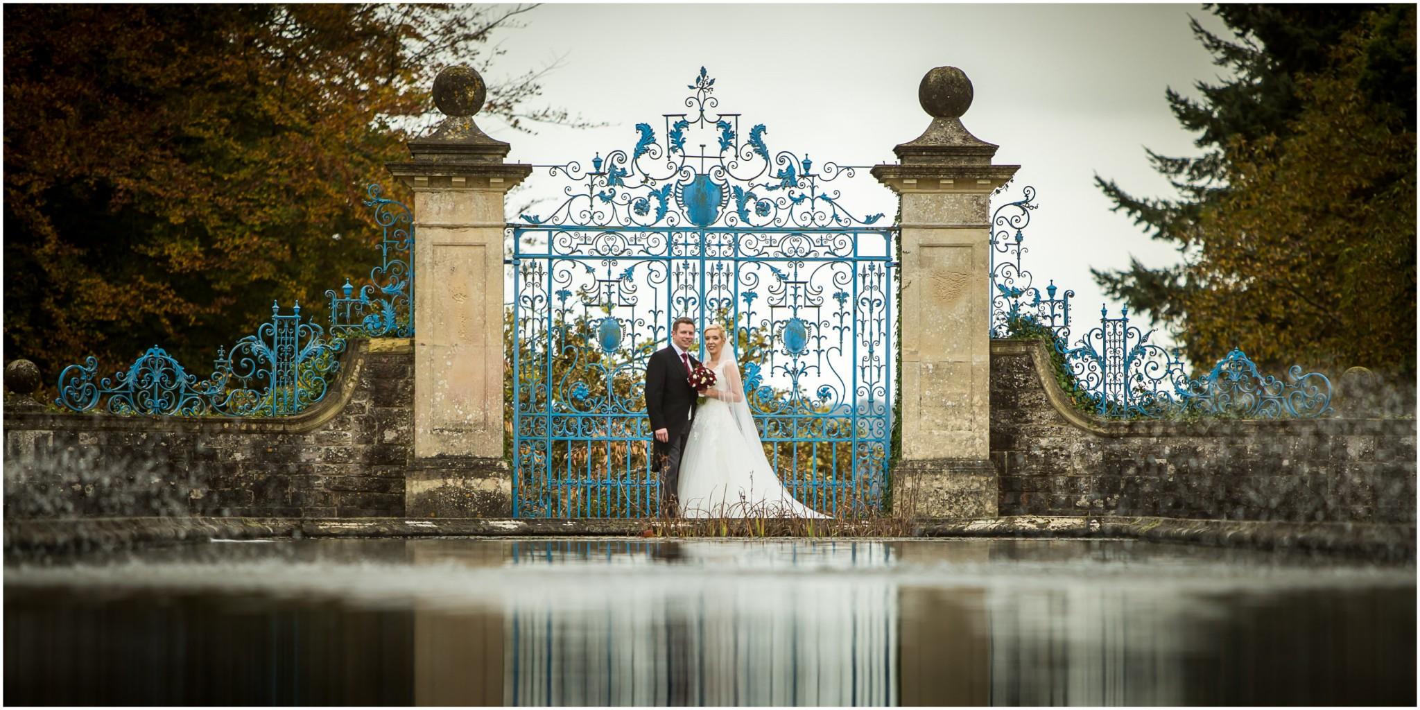 Rhinefield House Wedding Bride & Groom Blue Gates