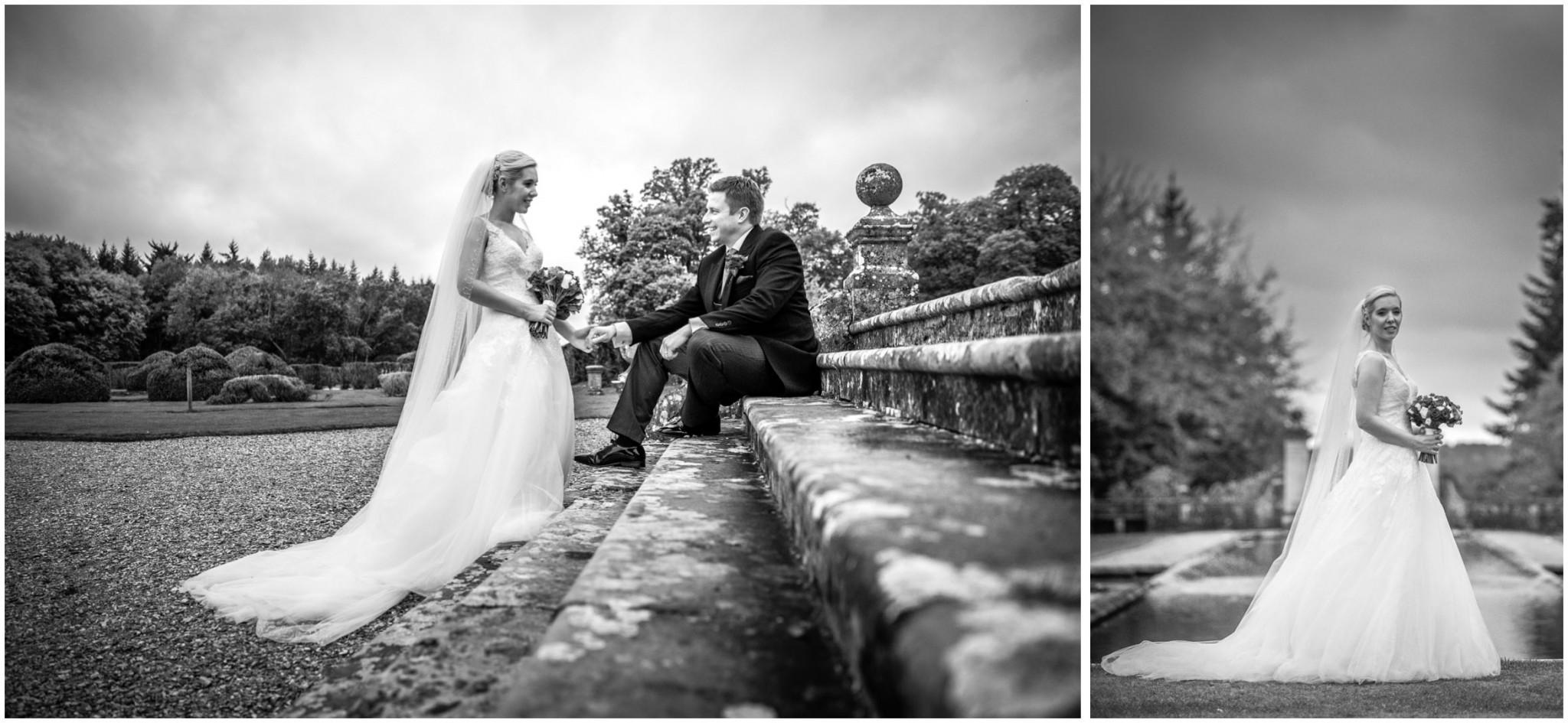 Rhinefield House Wedding Bride & Groom on steps
