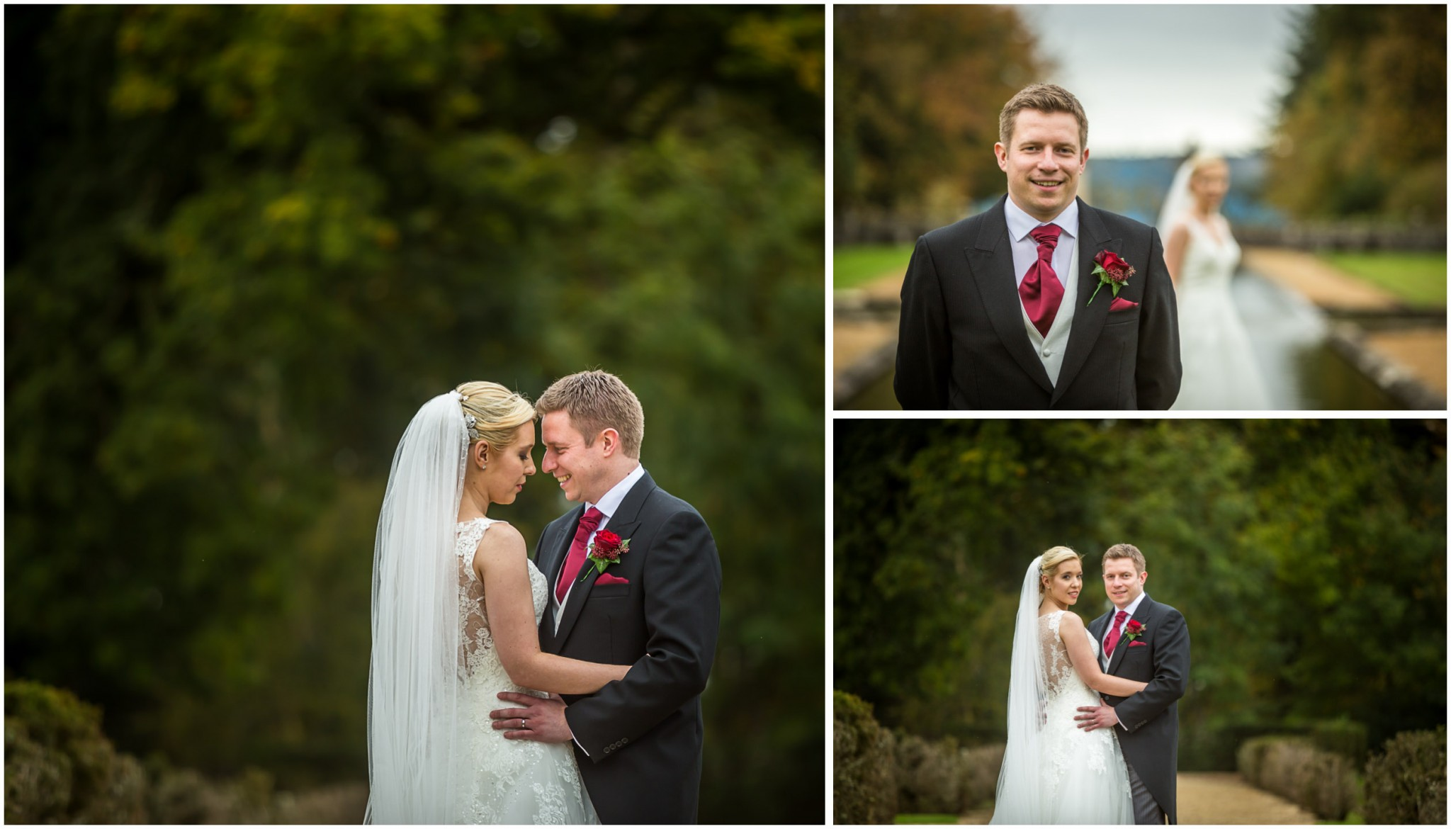 Rhinefield House Wedding Groom with Bride in gardens