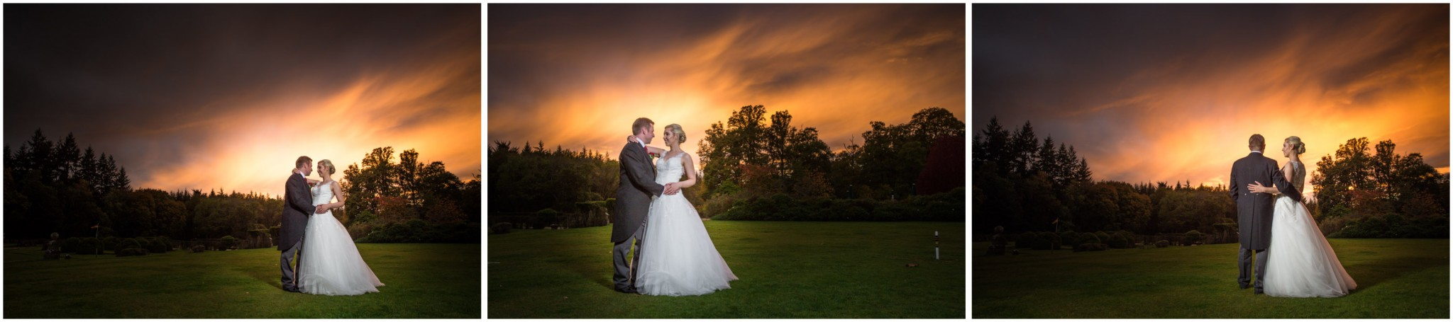 Rhinefield House Wedding Bride & Groom at sunset