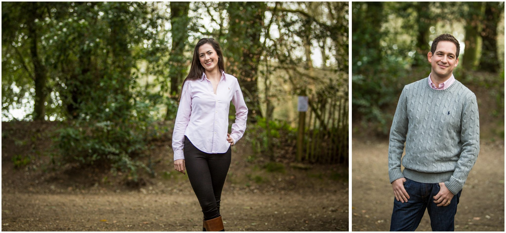 Individual portraits of bride and groom in grounds of Highcliffe Castle in the New Forest