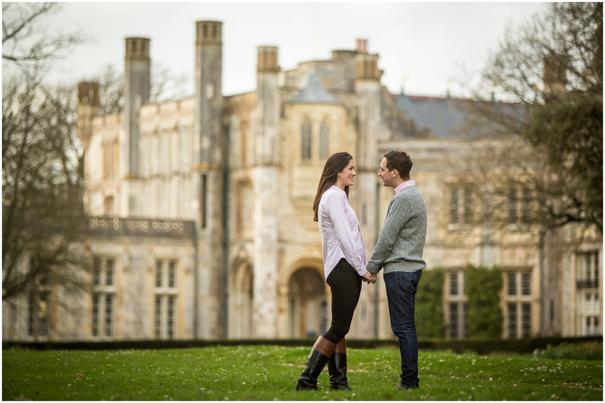 Couple posed in grounds of Highcliffe Castle, New Forest