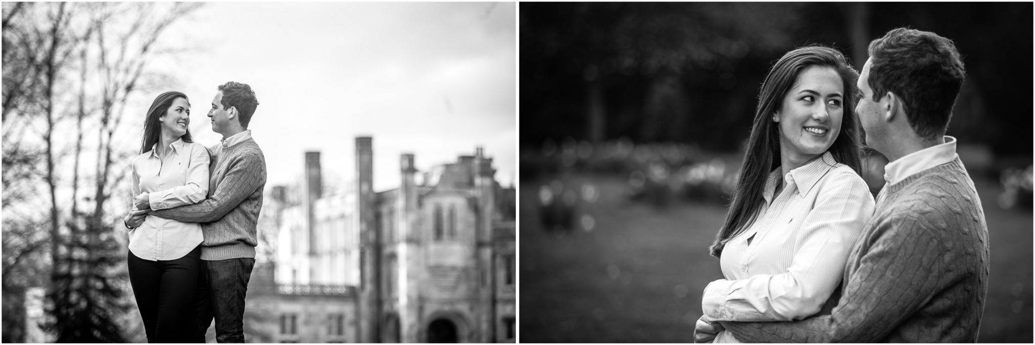 Black and white images of couple facing each other during Hampshire pre-wedding photoshoot