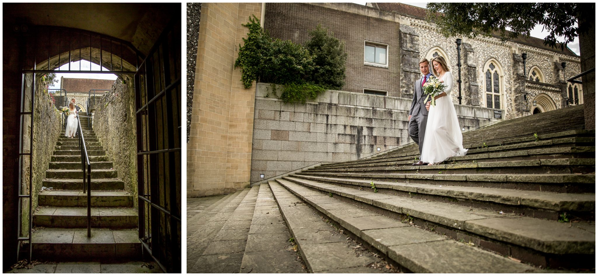 Bride and groom walking down steps near law courts