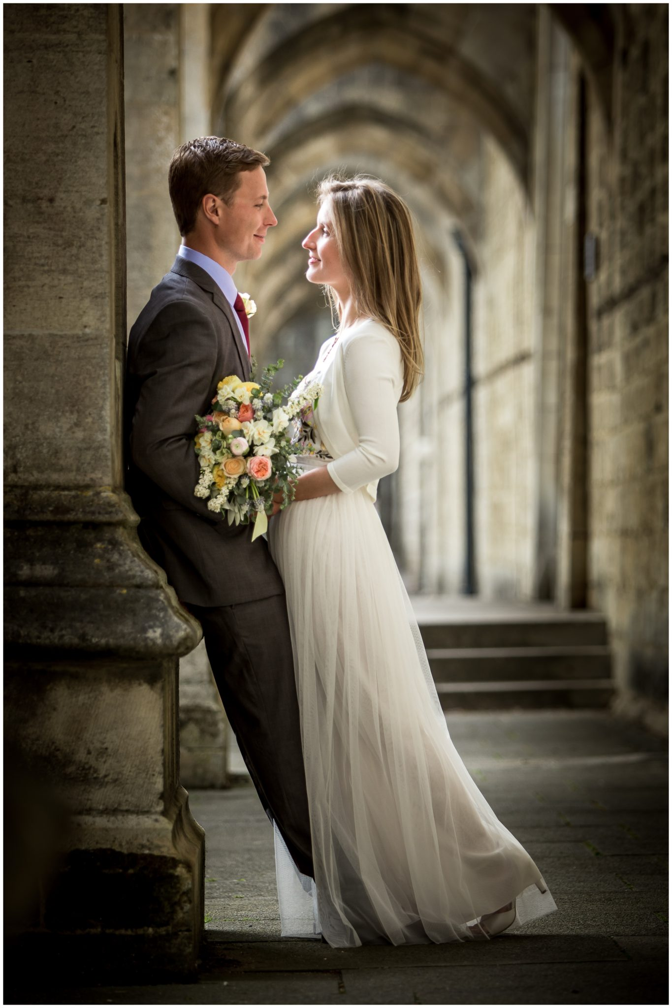 Bride and groom portrait Winchester Cathedral
