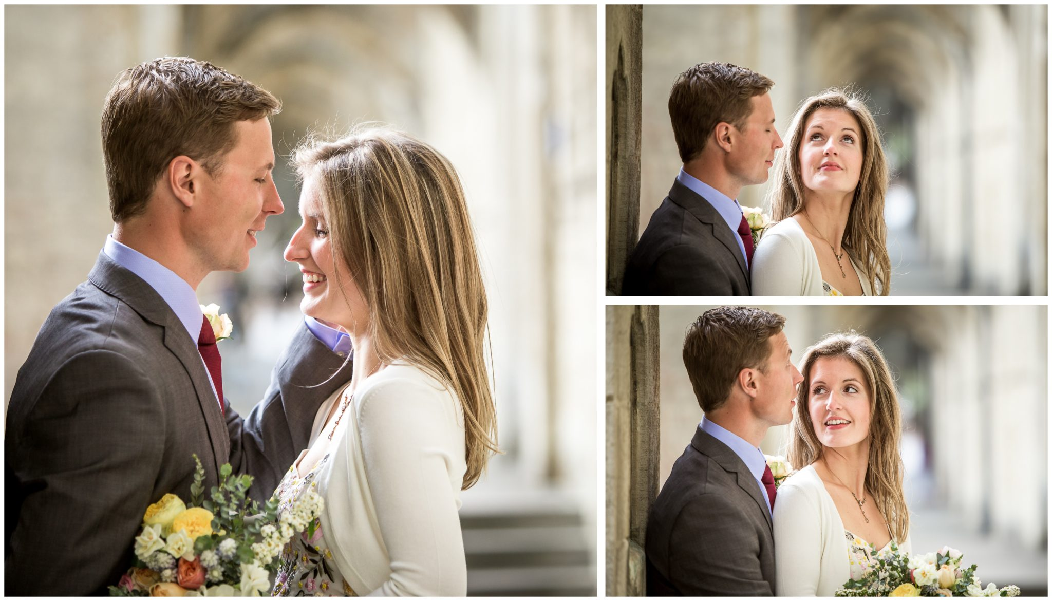 Couple portraits at Winchester Cathedral arches