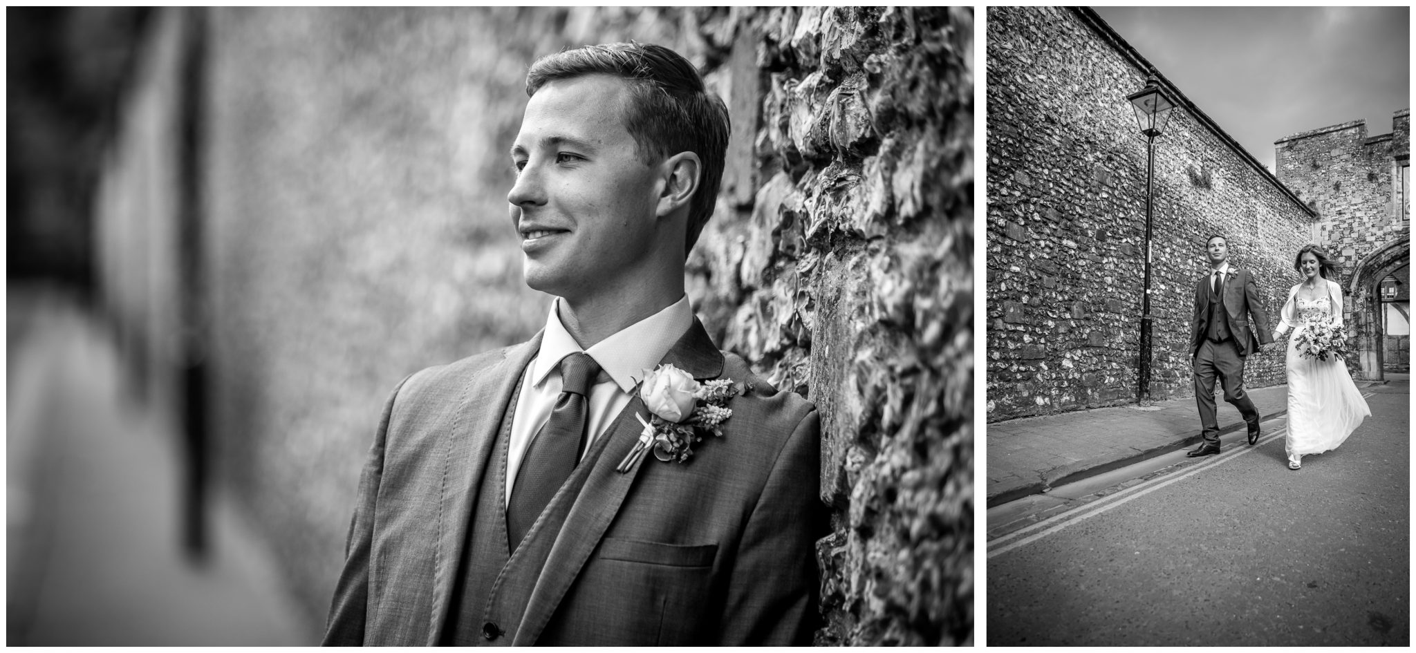 Black and white groom portrait near Winchester College