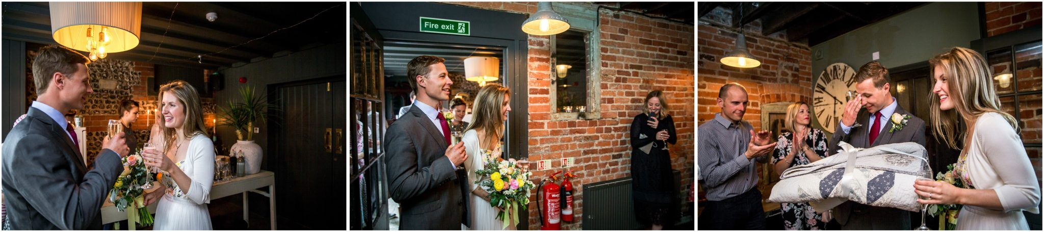 Bride and groom arraive at reception venue