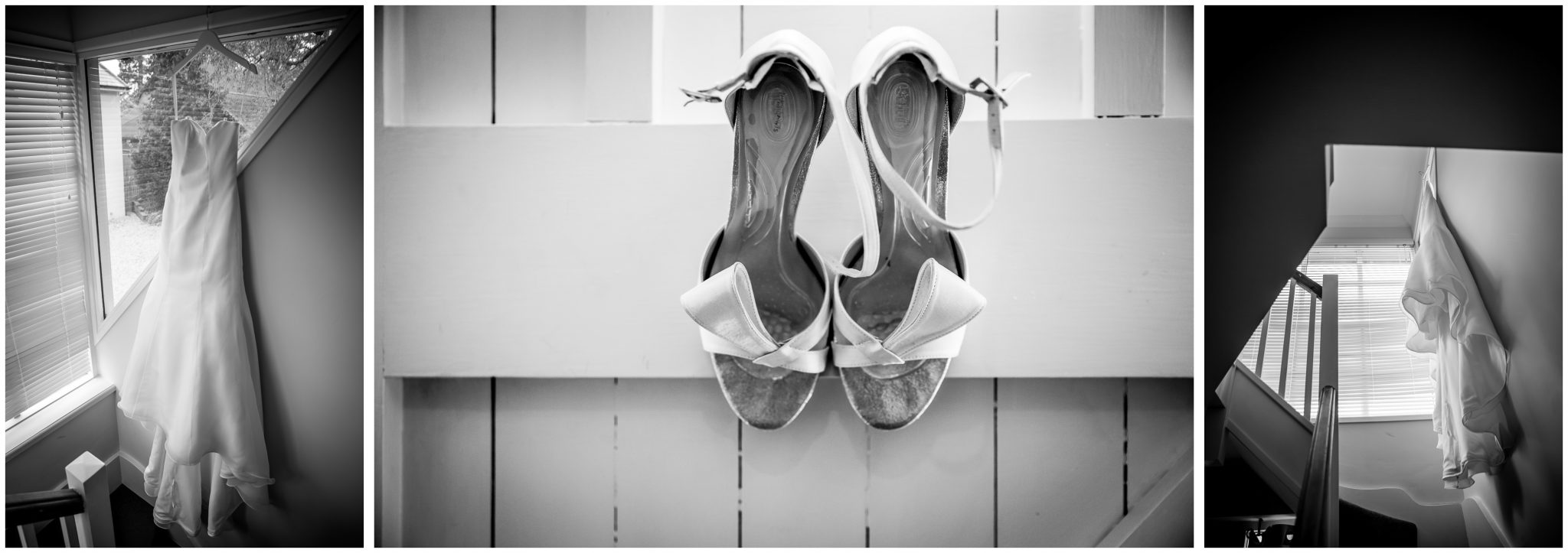 Bridal prep wedding dress and shoes