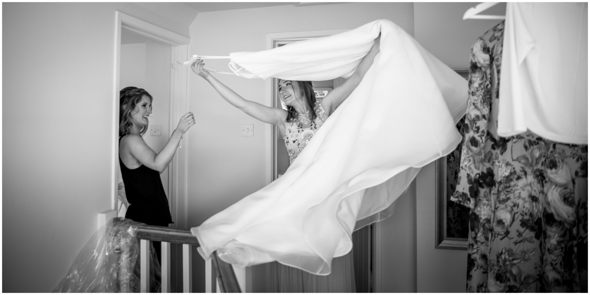 Bride's sister gets wedding dress ready