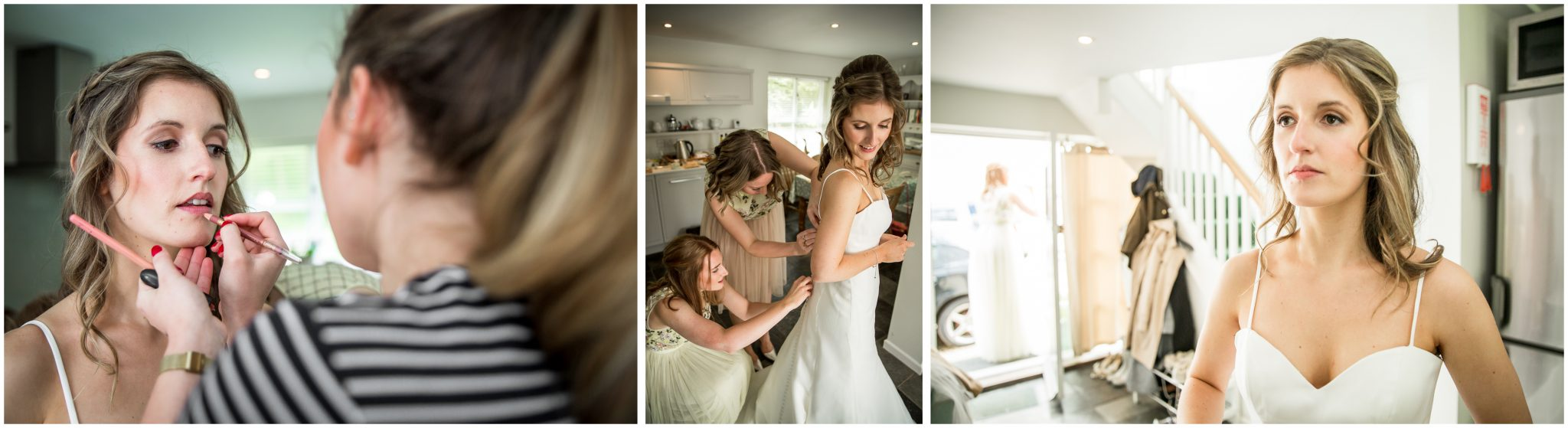 Finishing touches for bride during bridal preparations