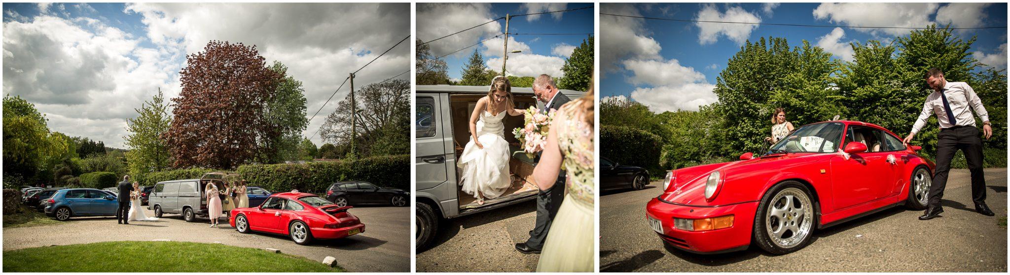 Bride and bridesmaids arrive at Twyford Church in wedding vehicles Porsche 911