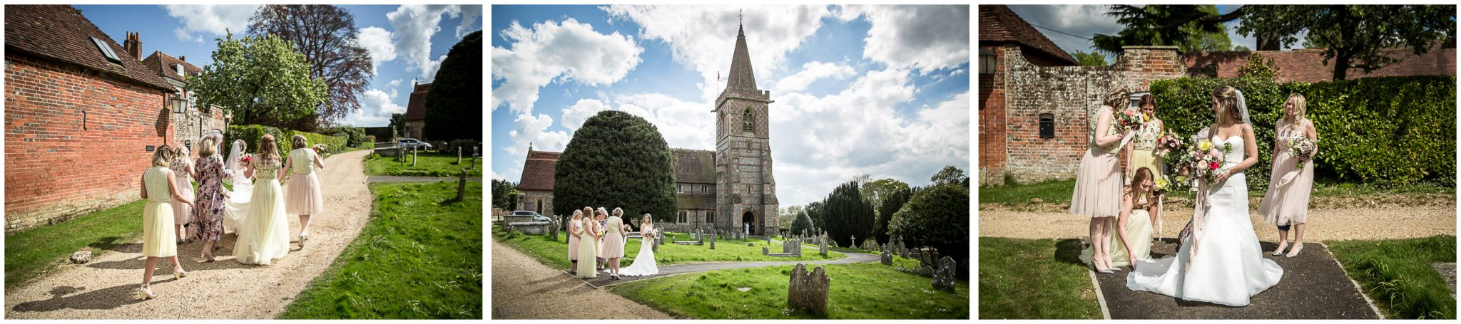 Bride and bridesmaids walking towards Twyford church