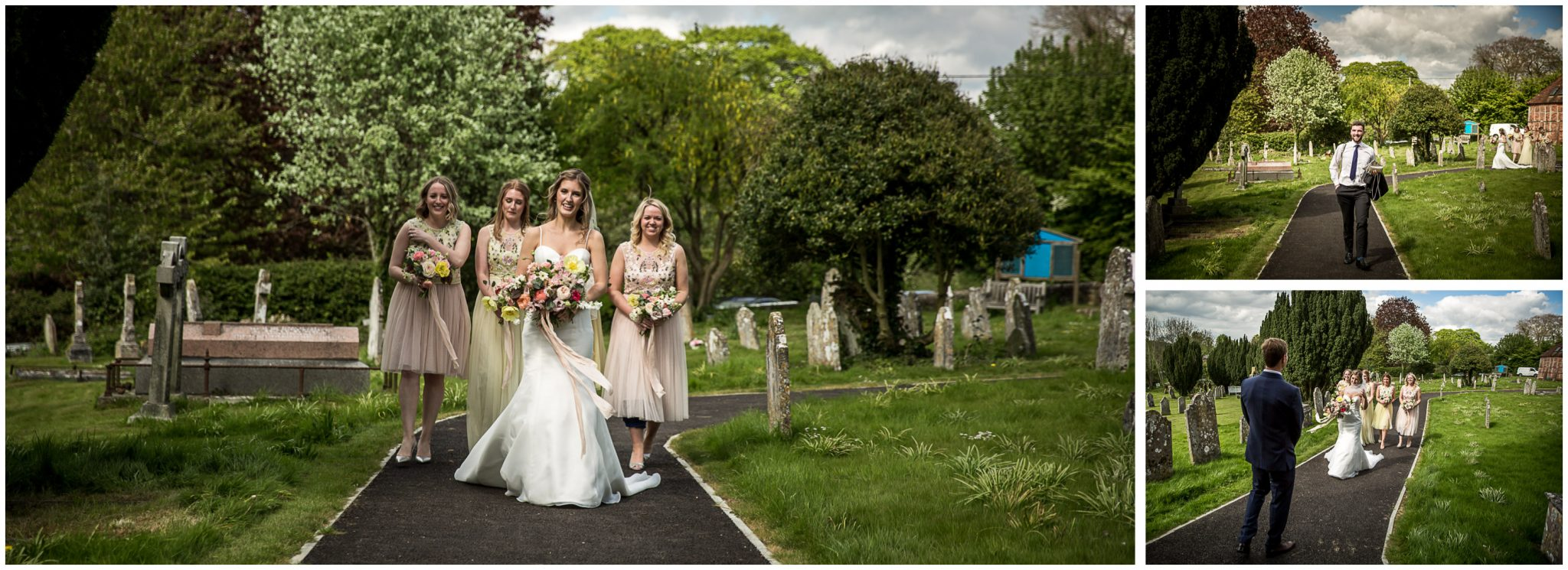 Bride arrives outside church with bridesmaids