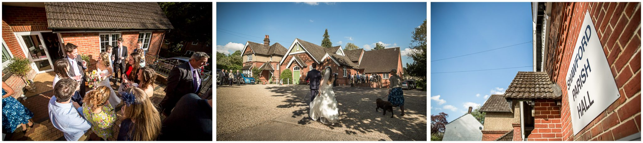 Bride, groom and guests arrive at village hall