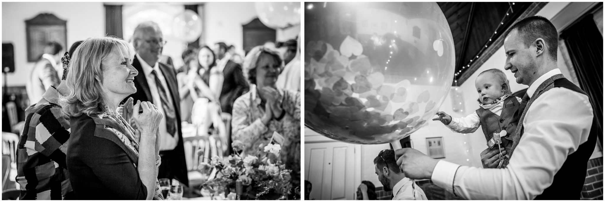 Candid black and white photography of wedding reception