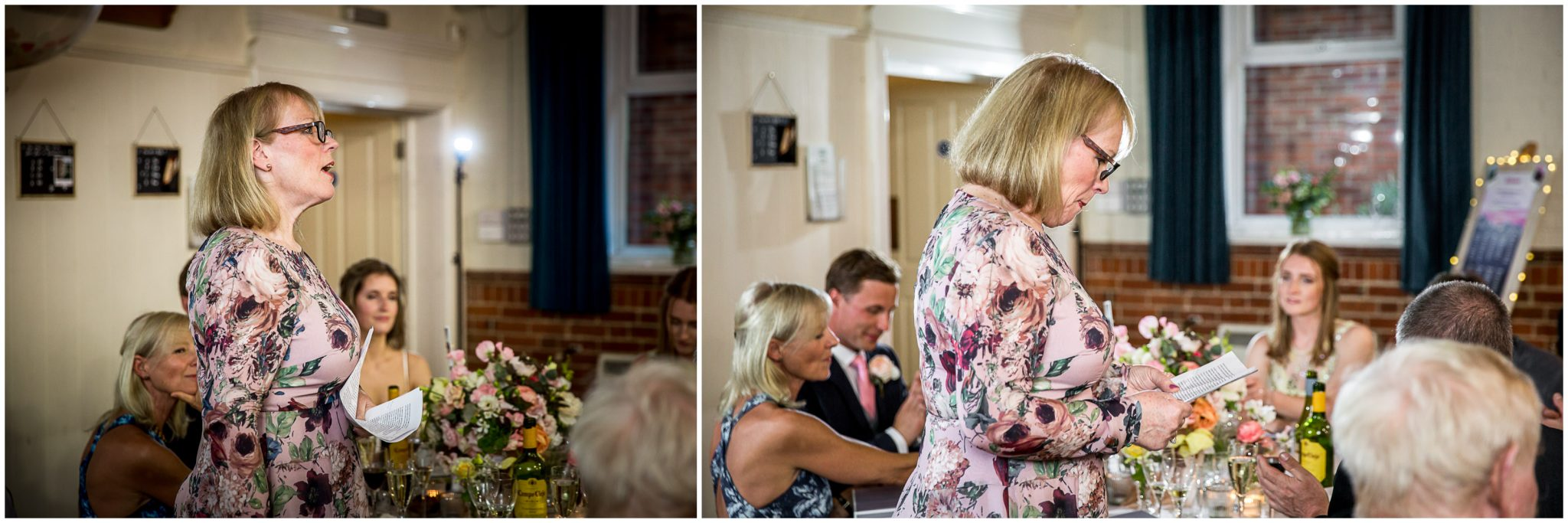 mother of the bride gives a wedding speech