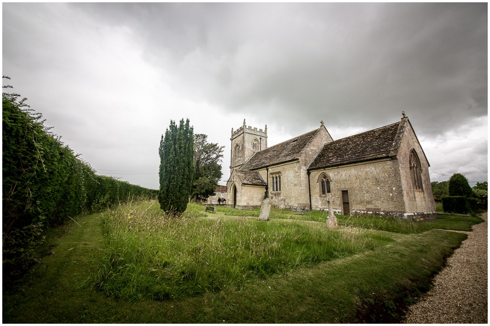 St Peter's Church at Hinton St Mary, Dorset, on a rainy Summer's day
