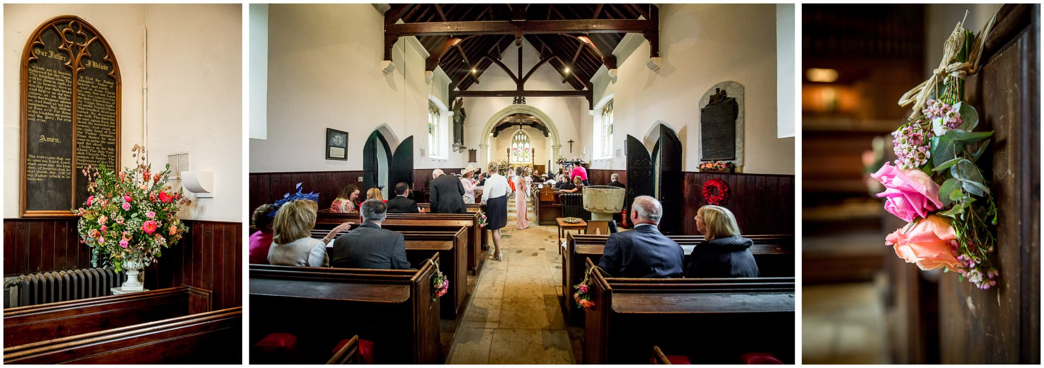 Church interior as wedding guests arrive