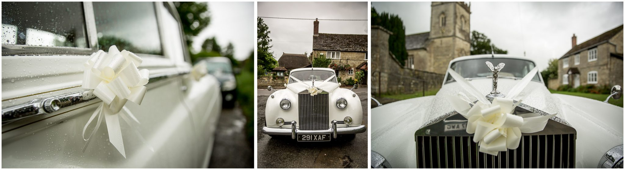 The wedding car arrives outside the church