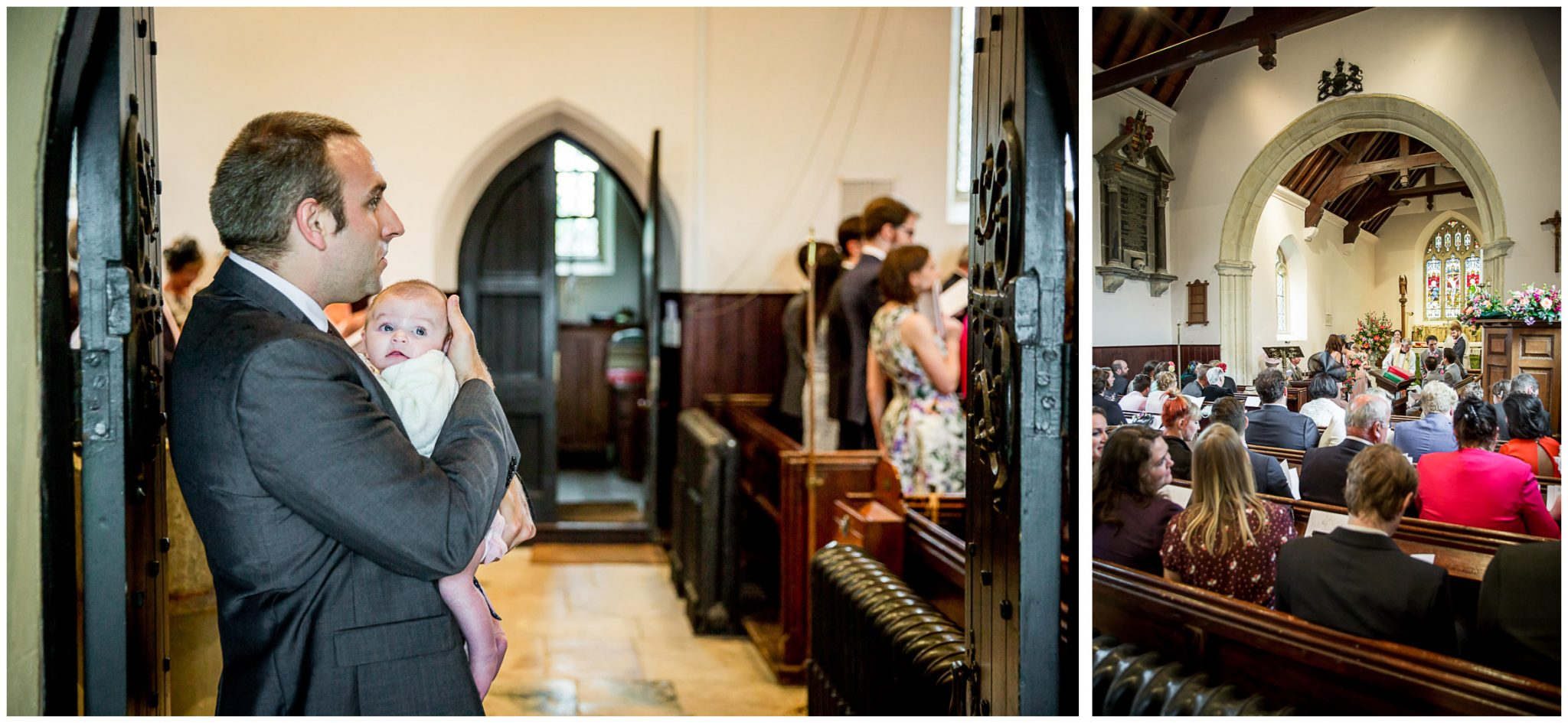 A wedding guest watches the signing of the register from the doorway