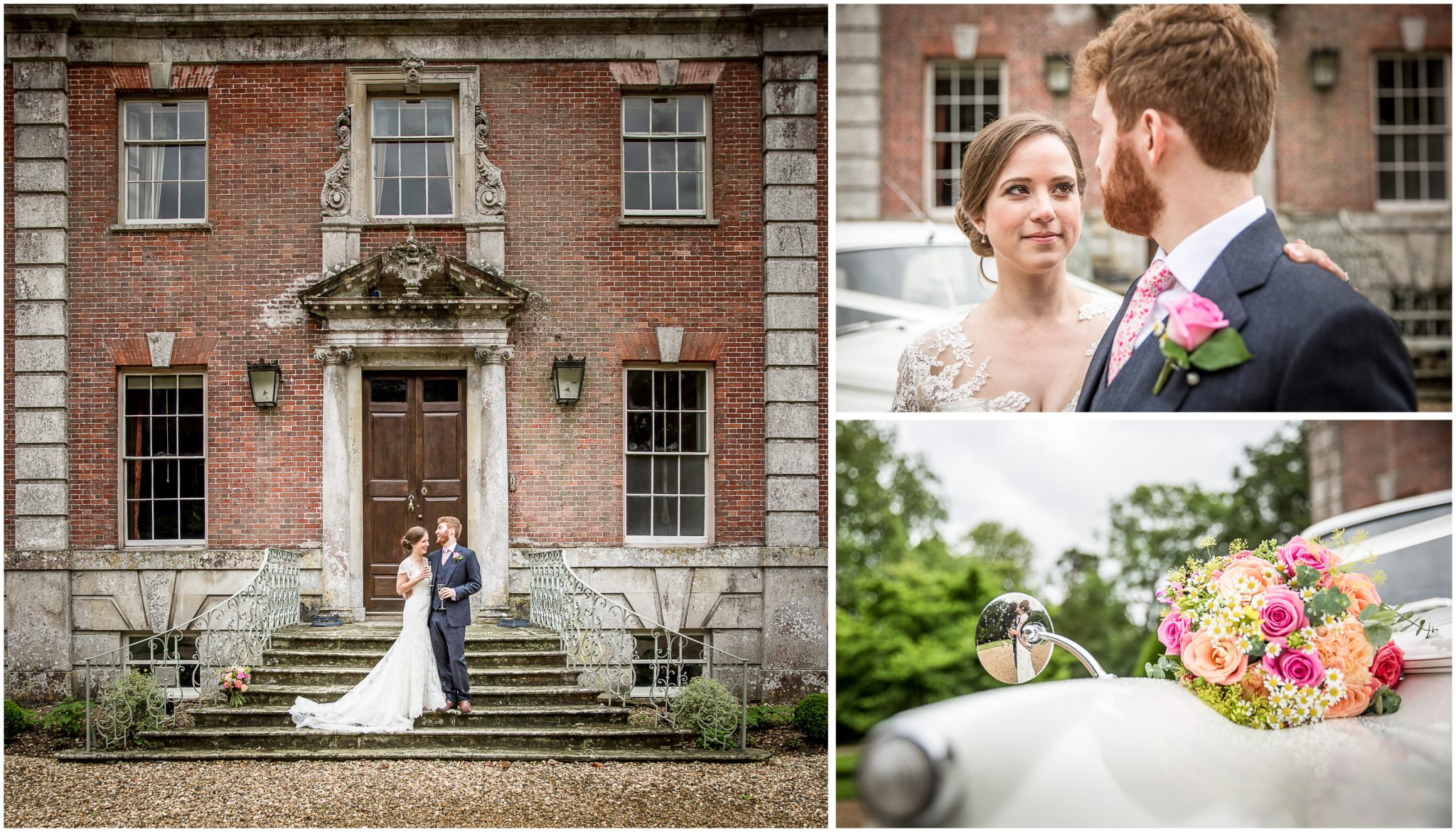 Bride and groom outside manor house with wedding car