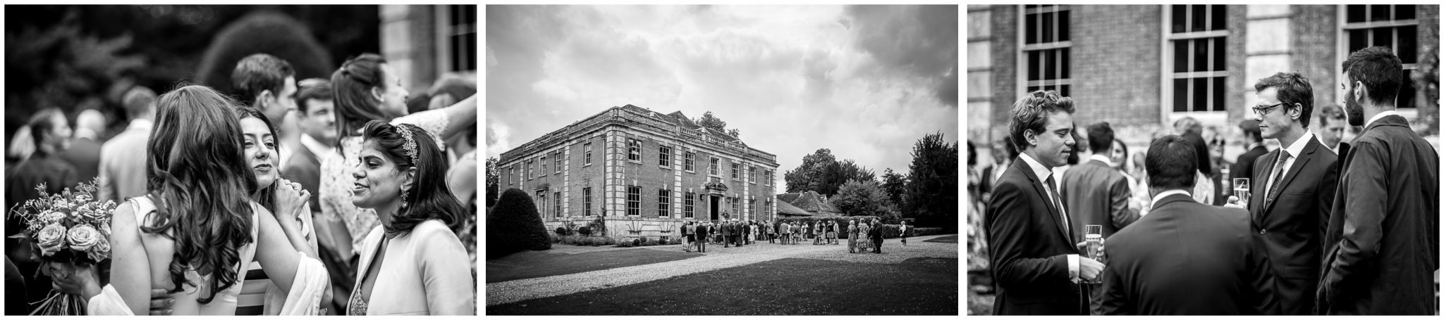 Black and white images outside reception venue