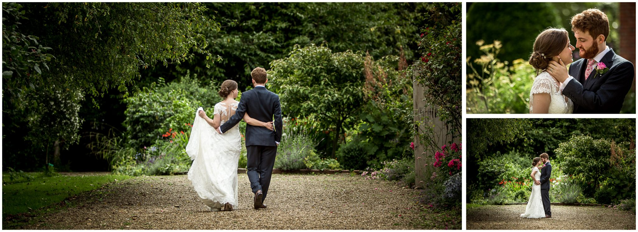 The bride and groom walk through the grounds of the estate