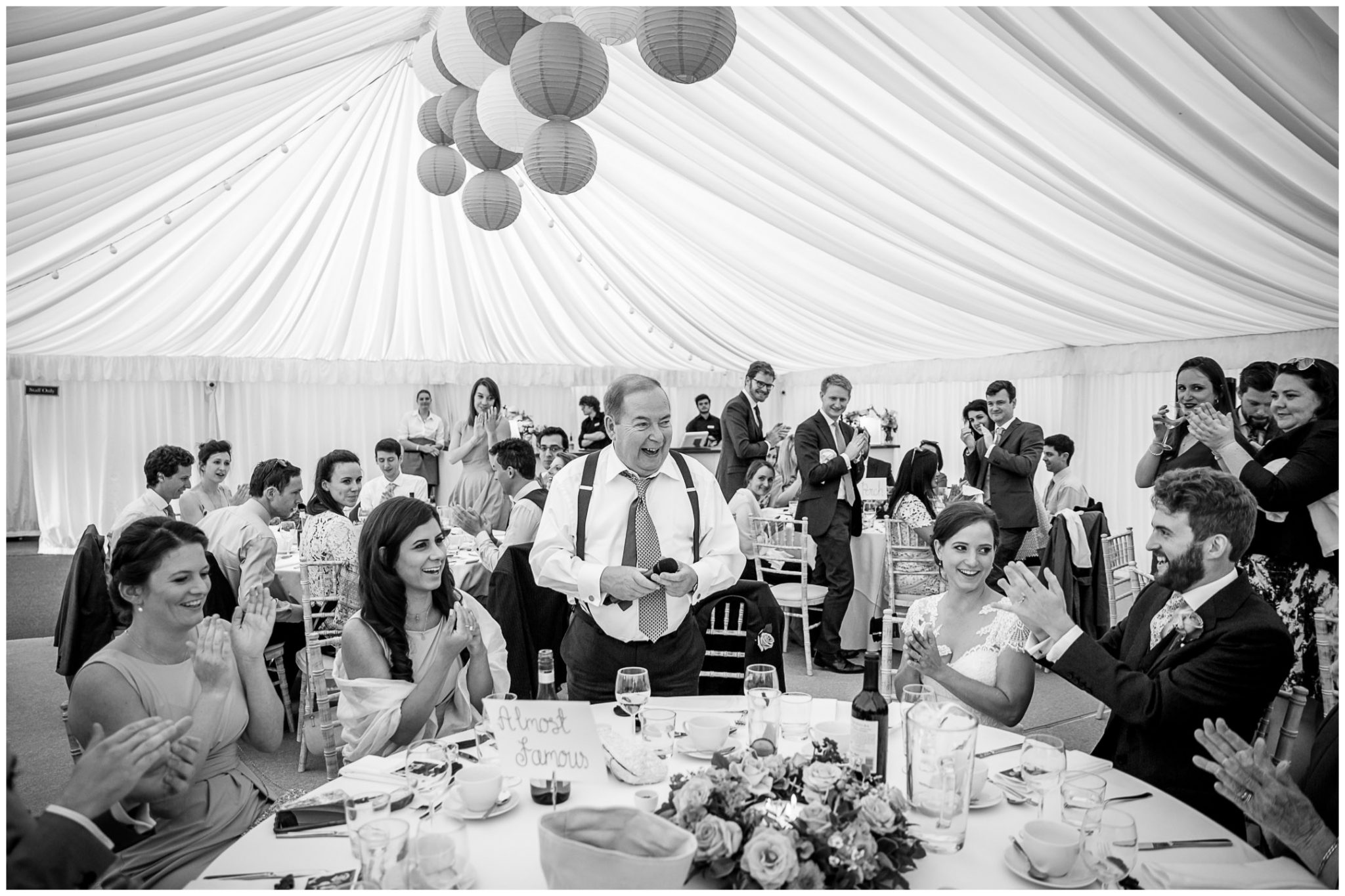 Father of the bride speaks at the top table