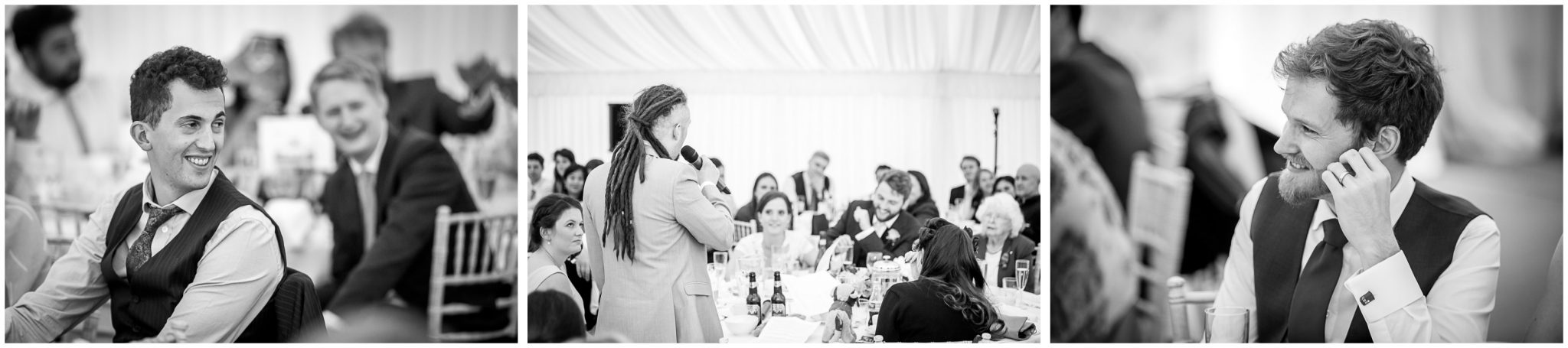 The best man makes his speech in front of assembled guests