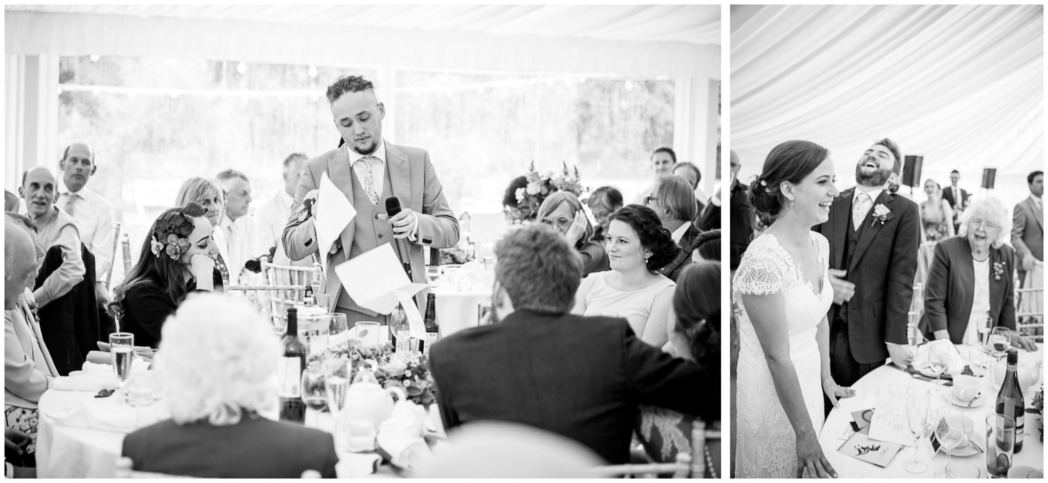 Black and white image of wedding speeches