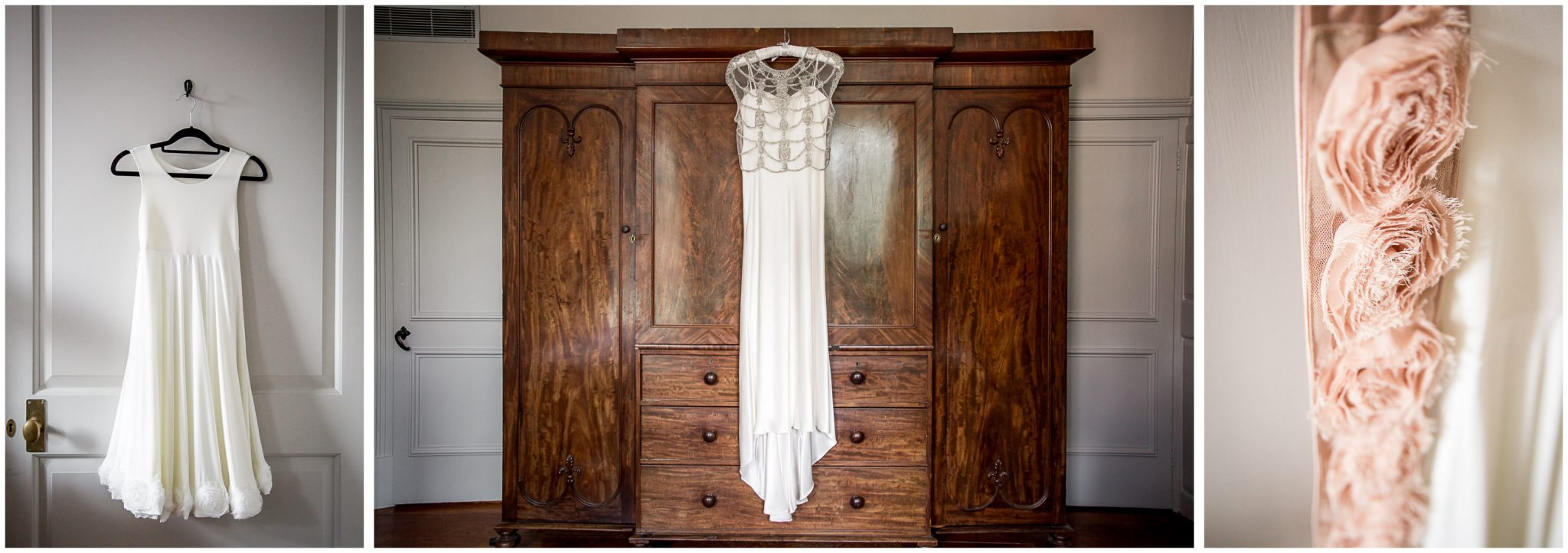 Wedding dress hanging and details in Hotel du Vin Winchester bridal suite