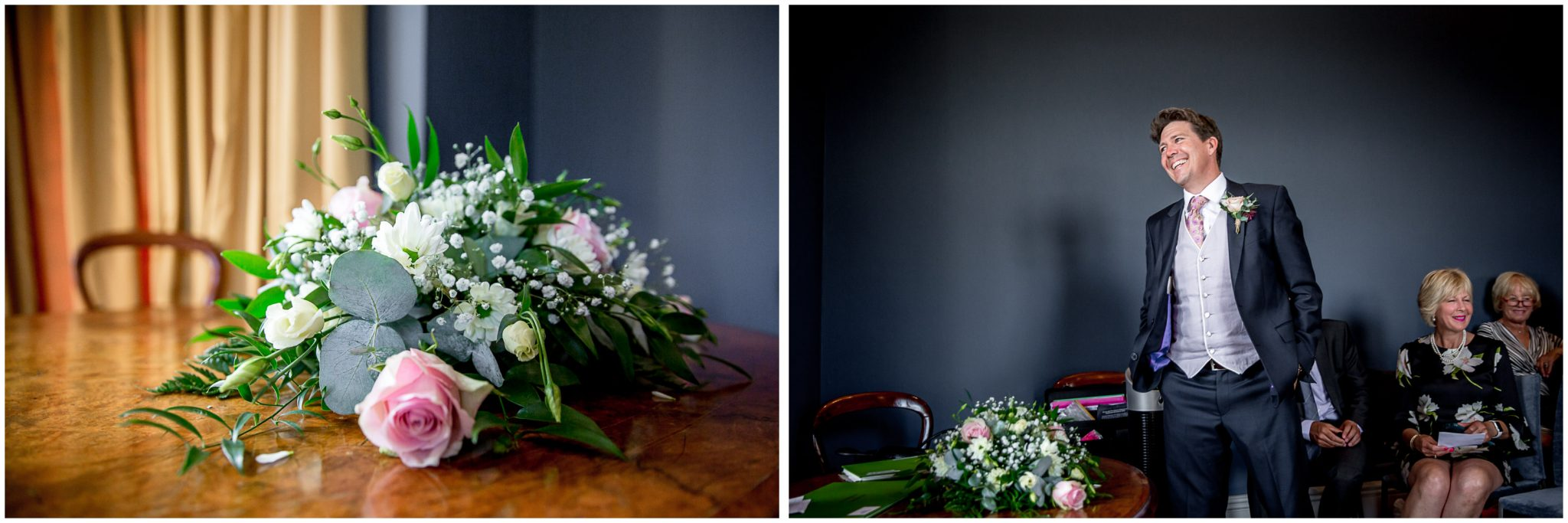 Colour photos of groom and flowers in Castle Room Winchester before cermeony
