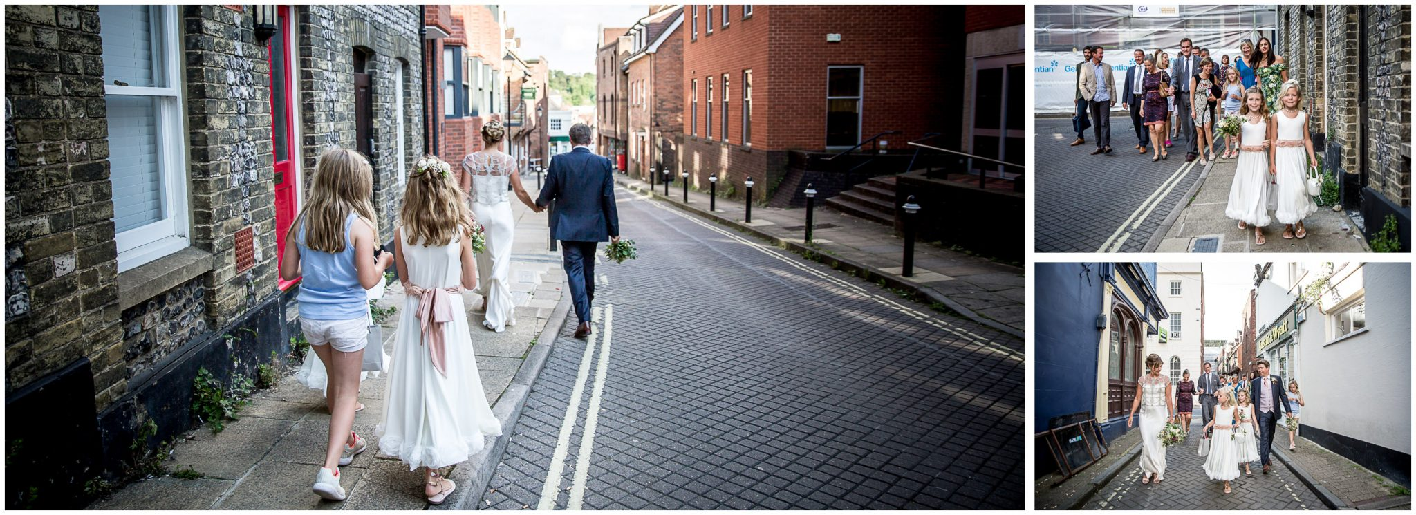 The wedding party walks through the back streets of Winchester en route to the reception