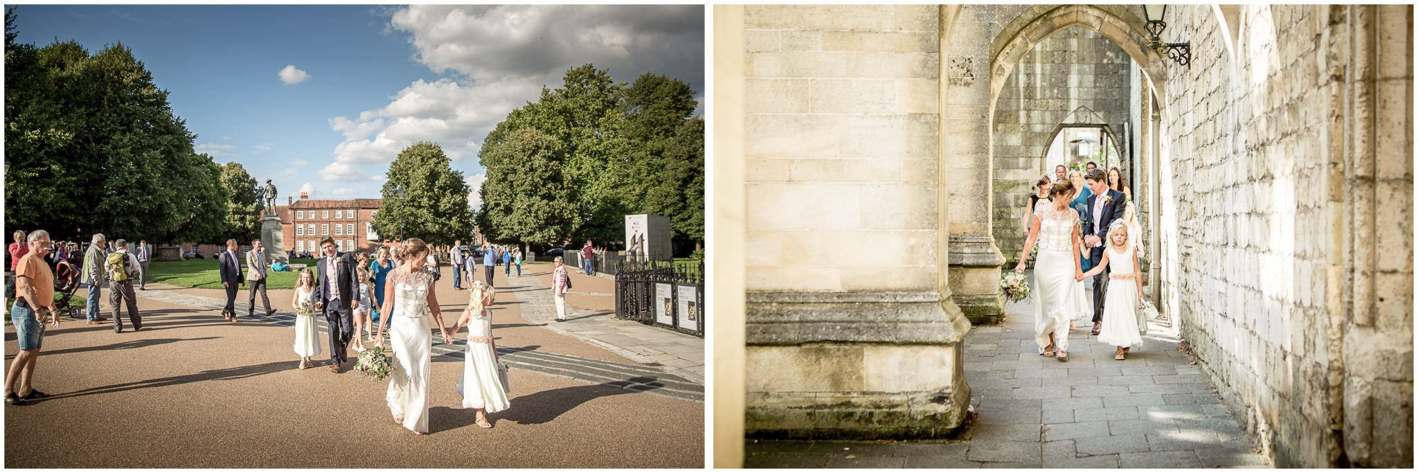 The wedding party walks past Winchester Cathedral