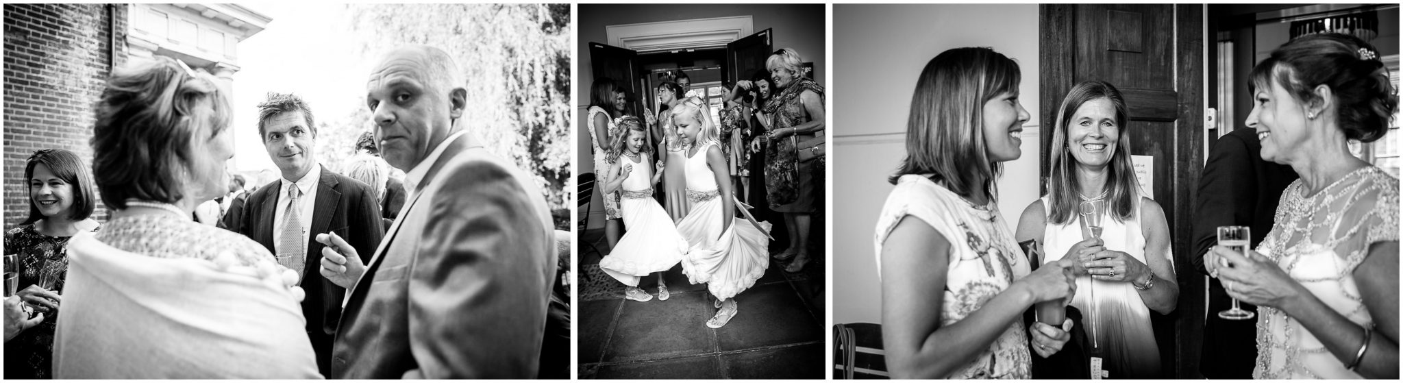 Black and white candid photography of guests at reception