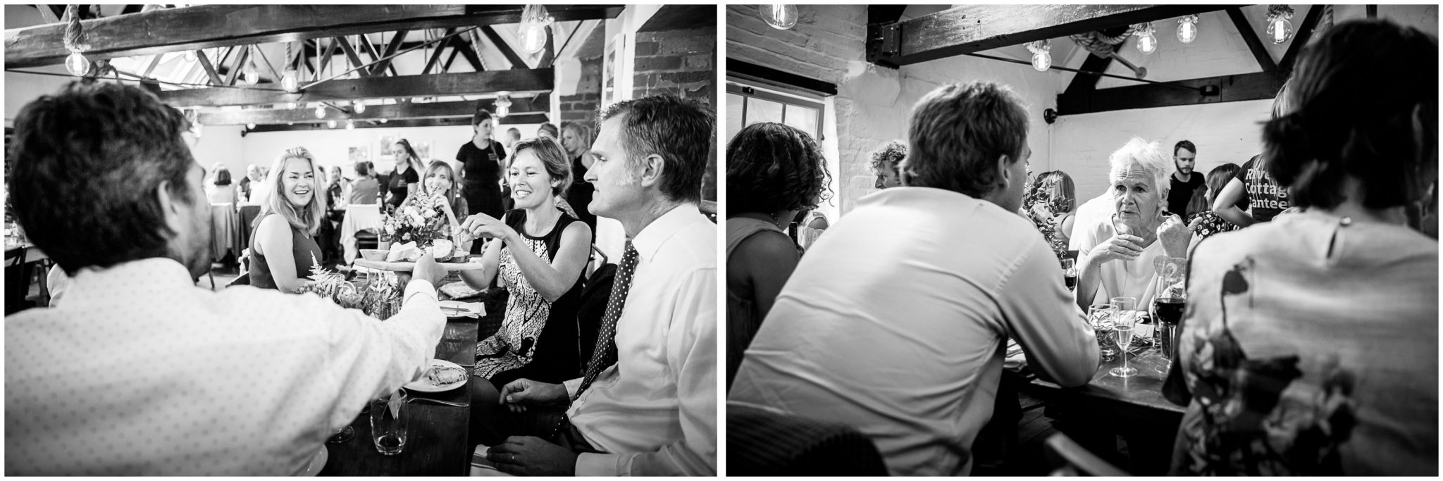 Black and white candid photos of guests sharing food at River Cottage Winchester