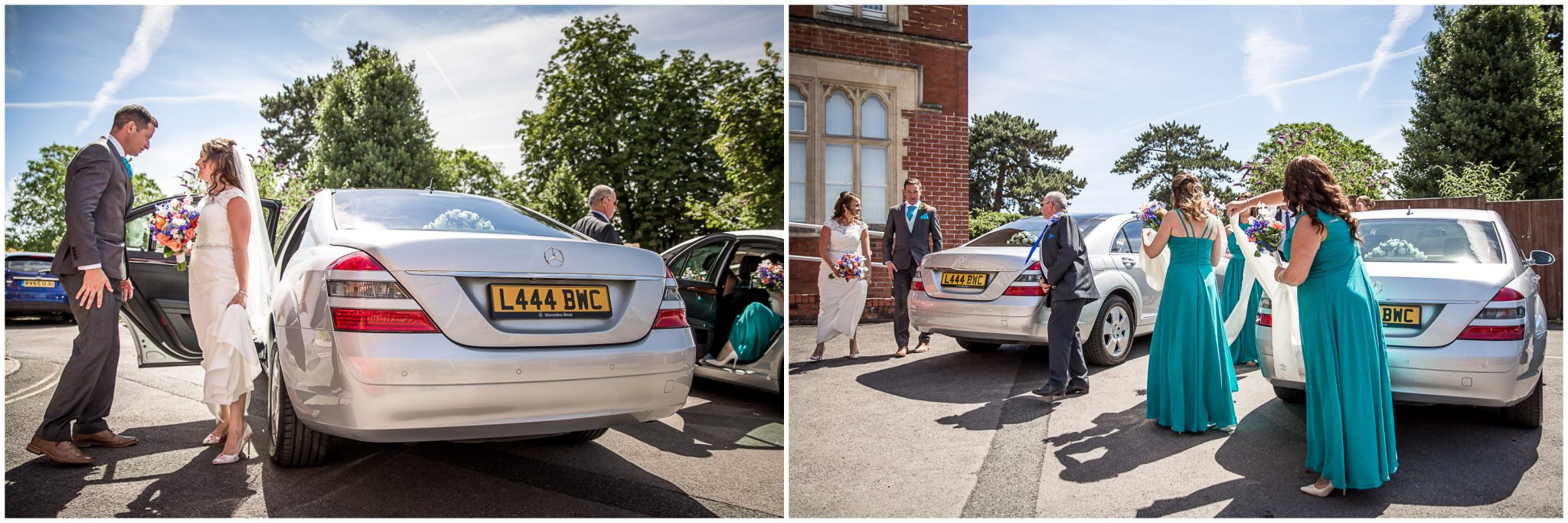 Bride arrives at church and steps out of the wedding car