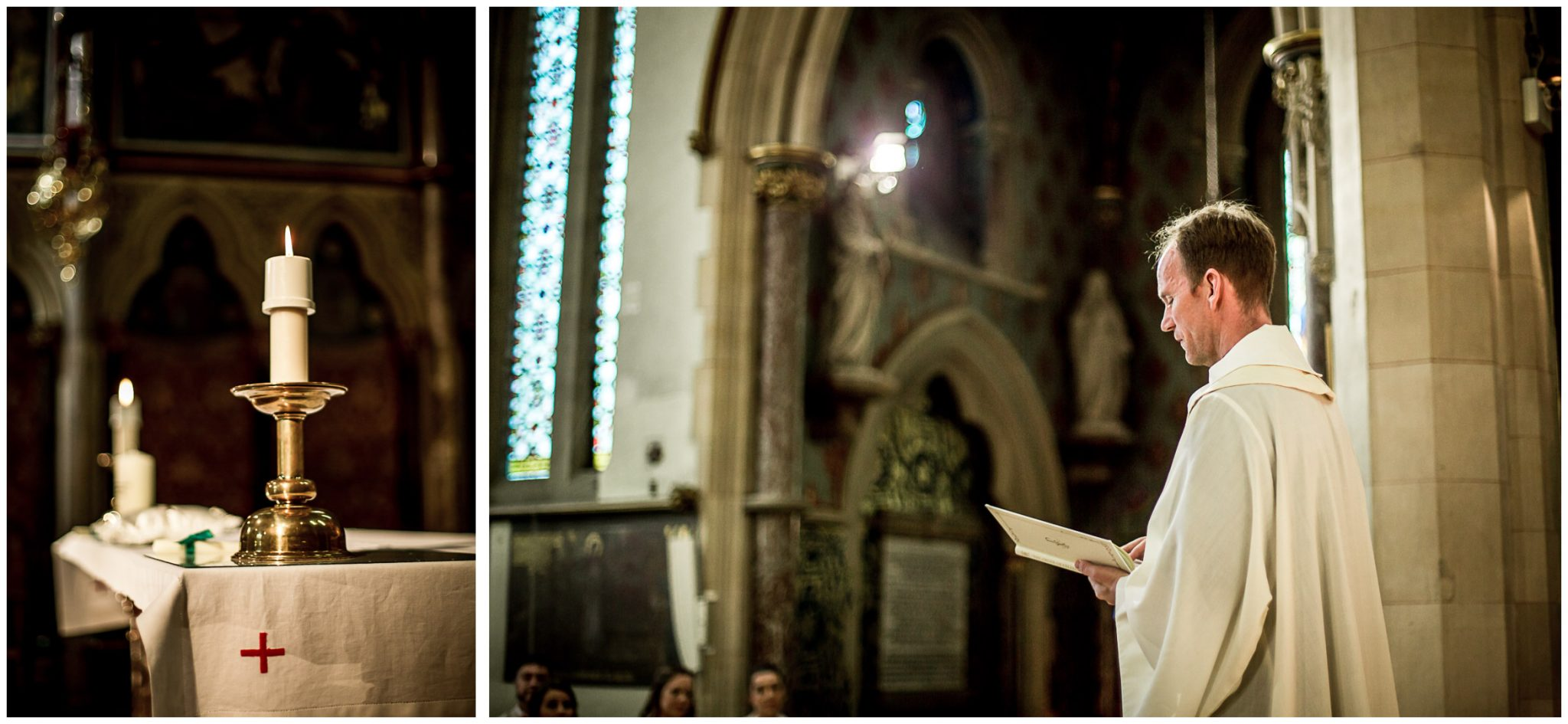 The priest leads the catholic wedding ceremony at St Bede's church basingstoke