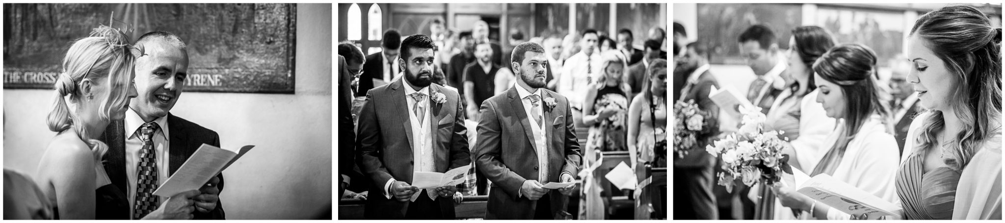 Black and white candid photographs of wedding service