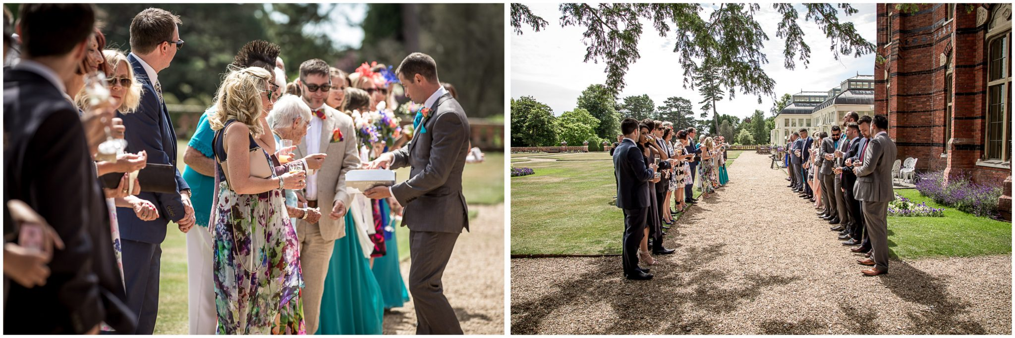 Guests line up with confetti ready to receive the couple at the Elvetham Hotel