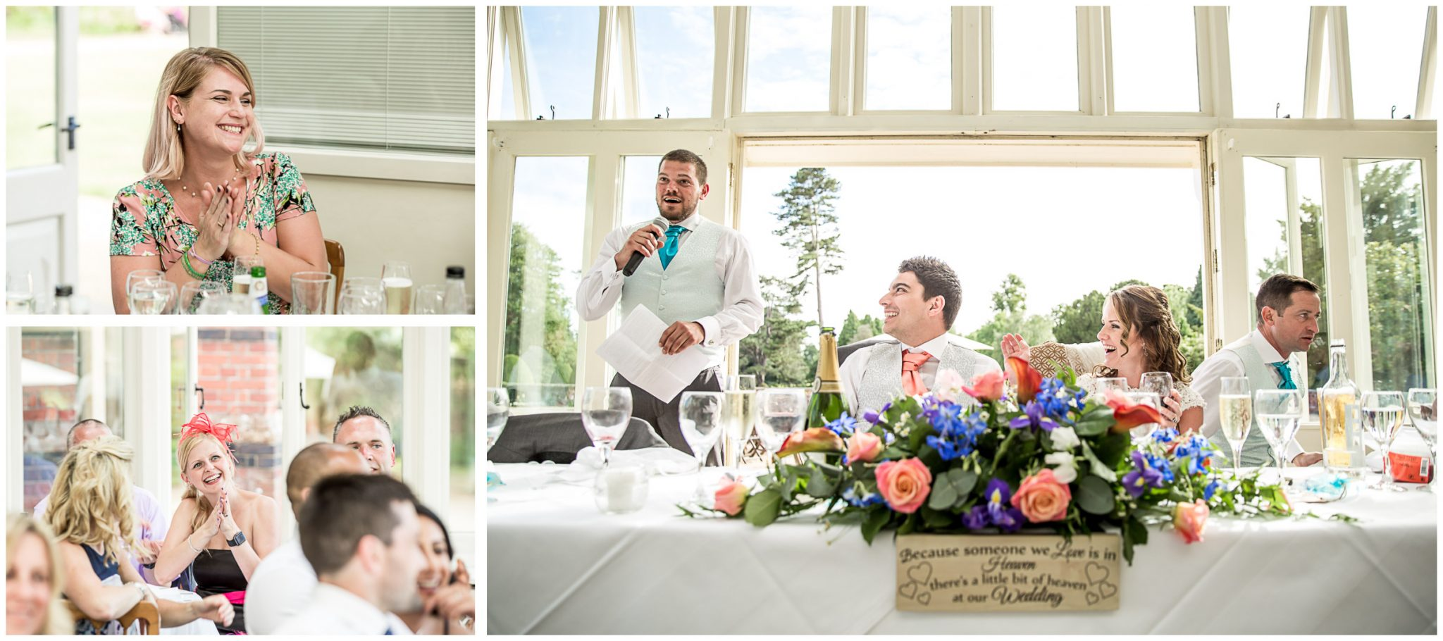 Best man giving his speech before wedding brekfast at The ELvetham Hotel